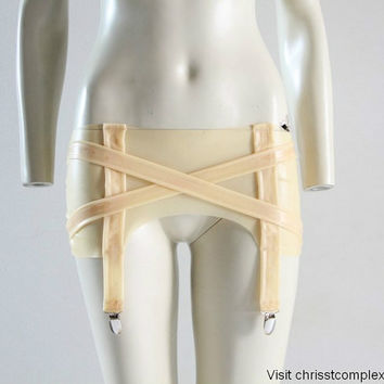 Latex Lingerie Suspenders Garter Belt Girdle Buckle Nude Fetish Gothic Lady Gaga Cosplay - Chrisst SPECIAL ETSY PRICE