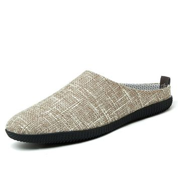 men hemp sandals summer backless fashion beach slides breathable mens casual canvas slippers shoes sandalias hombre drive flats