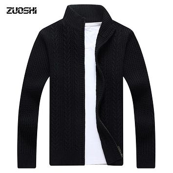 2017 Autumn Winter Thick Zipper Cardigan Sweater Collar Men's Loose Sweater Knitwear Outdoors Warm Casual Fashion Coat S1709