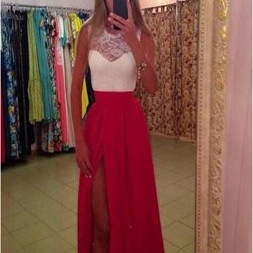 Red-White Patchwork Lace Hollow-out Pleated Irregular 21 Birthday Homecoming Prom Maxi Dress