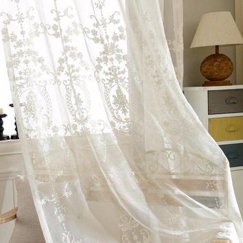 White Embroidered Voile Curtains Bedroom Sheer Curtains for Living Room Tulle Window Curtains Panels Window Screening