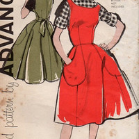 Advance 9574 Vintage 50s 60s Sewing Pattern Apron Dress Wrap Skirt Fit & Flare Housedress Deep Pockets Sleeveless Bust 36
