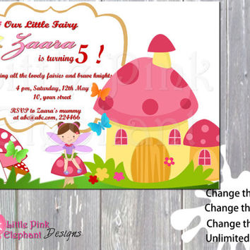 Fairy invitation birthday party invite printable digital file girl birthday garden fairy woodland fairy