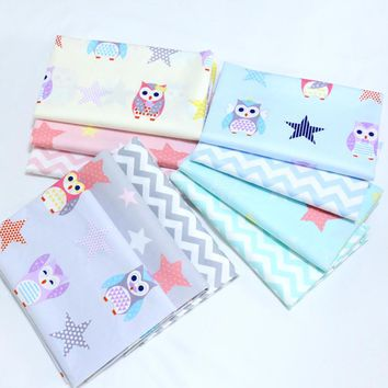 New 2017 Twill Cotton Fabric Cloth Textile Diy Sewing Quilting Printed Stars Owl Wave Bedding Decoration Women Hand Craft Tissue