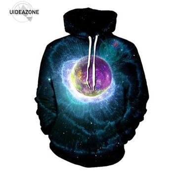 UIDEAZONE 2017 New Trippy Artwork Hoodie Music Festival Clothing Planet Sublimation Print Galaxy Nebula EDM Wear Plus Size 3XL