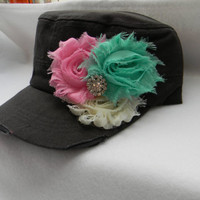 Womens Hat Shabby Chic Flower Hat distressed hat Bling Rhinestone Hat Cadet Cap Charcoal Aqua pink and ivory baseball cap military