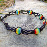 Rainbow and Black Hemp Bracelet or Anklet by KnottyandNiceHemp