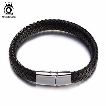 ORSA JEWELS Charm Real Leather Braided Rope Bracelets with Stainless Steel Clasp 2018 Fashion Women Men Jewelry GTB48