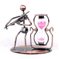 Violin Metal jewelry crafts creative home decorations ornaments Iron Music Man Sandglass timer, more than $100,TNT Free Shipping