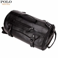 VICUNA POLO Personality Large Size Round Leather Mens Travel Bag