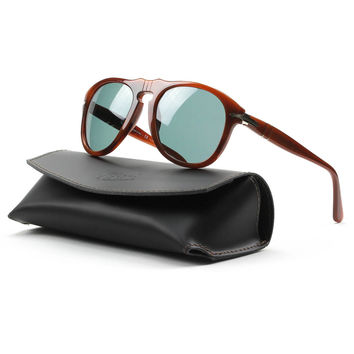 Persol 649 Sunglasses 957/4N Brown, Blue Photochromatic Polarized Lenses 52 MM