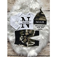 Personalized Baby Boy Coming Home Camo Outfit