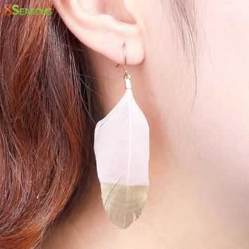 8SEASONS 2017 Trendy Drop Earrings Natural Feather Earrings Painting, About 70mmx 20mm, Post/ Wire Size: (21 gauge), 1 Pair
