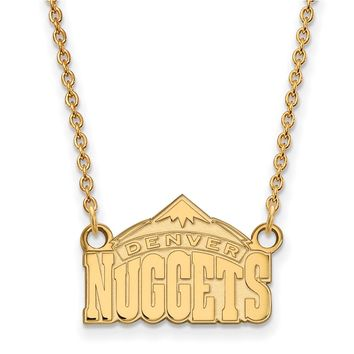 NBA Denver Nuggets Sm Pendant Necklace in 10k Yellow Gold - 18 Inch