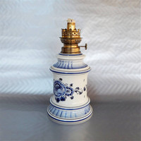 "Vintage Oil Lamp, Delft Blue Ceramic, Made in Holland, 11"" Tall"