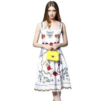 Lace Spliced Hollow Out Embroidery Tank Dress