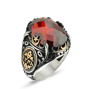 Red cubic zirconia gemstone with sword and crescent star 925k sterling silver mens ring