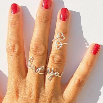 Twisted wire rings letters LOVE YOU Heart Ring £¨three -piece £©