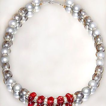 Miriam Haskell Baroque Gray Pearl Necklace Pate De Verre Glass Beads Rhinestones