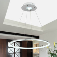 Modern Nature White LED Acrylic Pendant Light Remote Control Included with 1 Ring Max 35W Chrome Finish