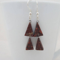 Jasper Earrings, Geometric Jasper Earrings, Brown Jasper Earrings, Dangle Jasper Earrings