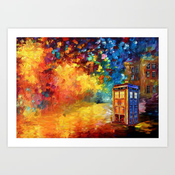 Police Phone Box at Rainbow city Art painting iPhone 4 4s 5 5c 6 7, pillow case, mugs and tshirt Art Print by Three Second