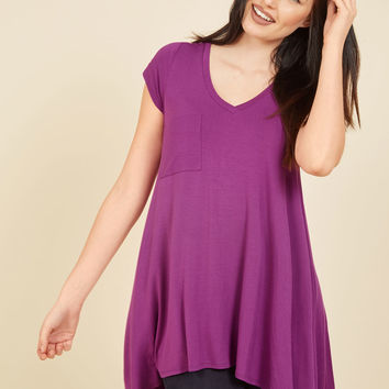 A Crush on Casual Tunic in Berry | Mod Retro Vintage Short Sleeve Shirts | ModCloth.com