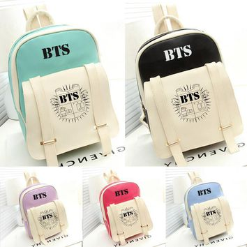 New kpop star goods BTS PU schoolbag korea backpack Bangtan Boys knapsack Travel Rucksack Mochila Escolar Li152