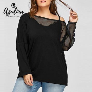 Womens Plus Size Sheer Mesh Panel Batwing Sleeve Tops Black Long Sleeves Cotton Fashions Top