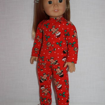 18 inch doll clothes, red gingerbread print pajamas with matching handknit slippers, Christmas pyjamas, doll pjs, Maplelea