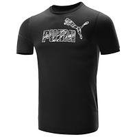 PUMA Fashion New Letter Print Women Men Leisure Top T-Shirt Black