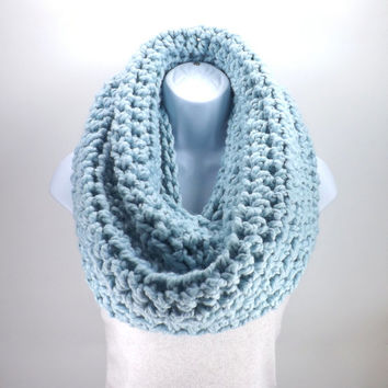 Large Chunky Infinity Scarf /GLACIER/, Unisex Chunky Scarf, Men Woman Loop Scarf, Gift Idea