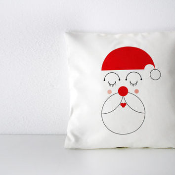 Santa Claus pillow, gift for kids, Christmas decor, merry christmas, holy night pillow, red and white, christmas gift, funny modern gift