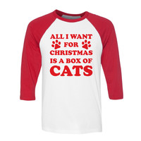 All I Want For Christmas is a Box of Cats Baseball Tee