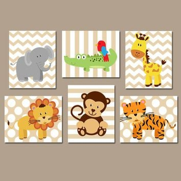 SAFARI Animal Wall Art, Baby Boy Animal Nursery Decor, Zoo Jungle Animal Theme, Boy Bedroom Wall Decor, Playroom CANVAS or Prints, Set of 6