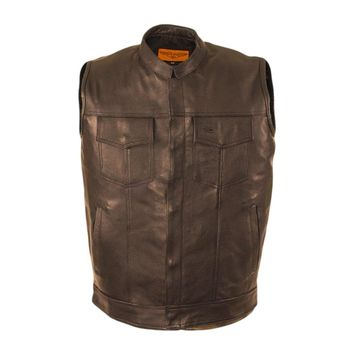 CD D C Mens Motorcycle Biker Cowhide Leather Club Vest Gun Pocket Black