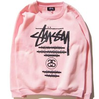 Stussy classic Stussy parade couple sweater color sweater men and women with the same paragraph round neck head Pink