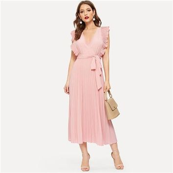 Pink Retro Pleated Panel Ruffle Armhole Wrap Belted Sleeveless Fit and Flare Solid Maxi Party Dresses