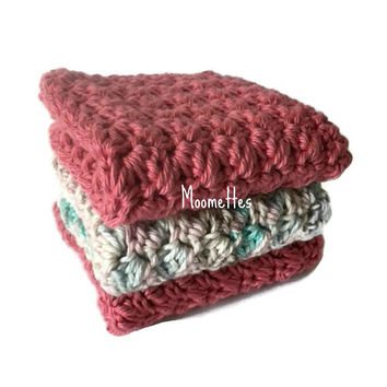 Handmade Dish Cloths Rose Pink Turquoise Blue Wash Cloths Crochet Kitchen Dishcloths Eco Friendly Cotton Set of 3