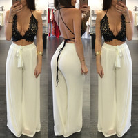 Summer loose two piece set women lace crop top bandage suspenders chiffon pant