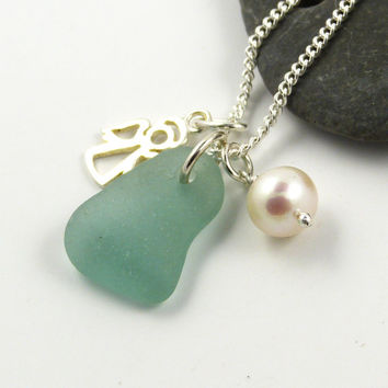Pale Turquoise Sea Glass, Silver Angel Charm and Freshwater Pearl Necklace, Sterling Silver, Beach Glass Necklace