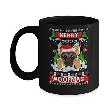 German Shepherd Merry Woofmas Ugly Christmas Sweater Mug