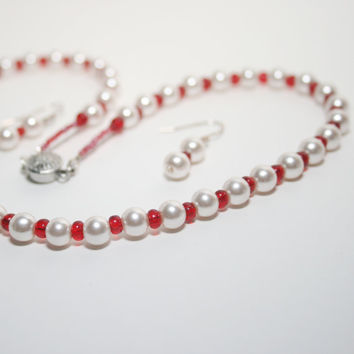 Glass Pearl Necklace and Sterling Silver Earring  Set