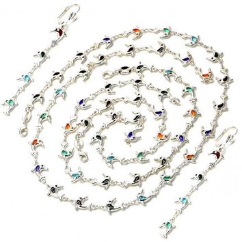 Gold Layered 04.63.1261 Necklace, Bracelet, Anklet and Earring, Dolphin Design, with Multicolor Crystal, Polished Finish, Silver Tone