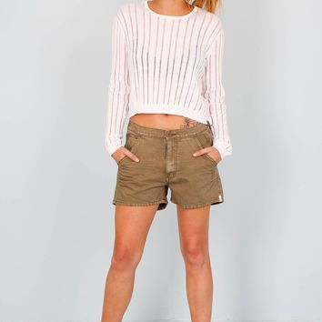 ONE TEASPOON | Mrs Blondes Mid Length Shorts - Khaki
