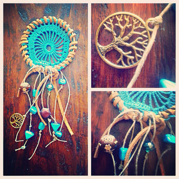 Car dreamcatcher mini in turquoise and tree of life