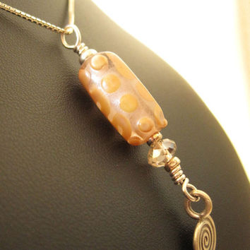 Soft pink and yellow gold glass bead and crystal by HorkoverGlass