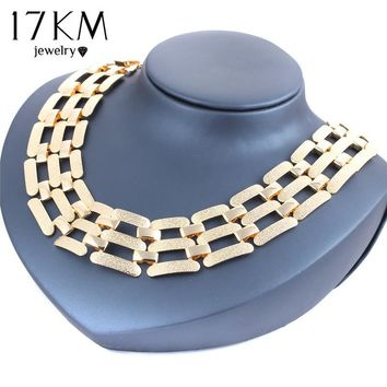 17KM 2016 Alloy Big Statement Necklace Vintage Punk Gold And Silver Plated Choker Necklace & Pendants Party Accessories