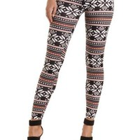 Cotton Fair Isle Printed Leggings by Charlotte Russe - Black Combo
