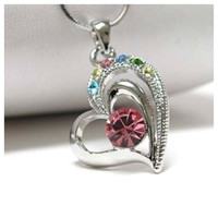 """""""My Colorful Heart"""" Rhinestone Accented Open Heart Necklace, Accessories"""